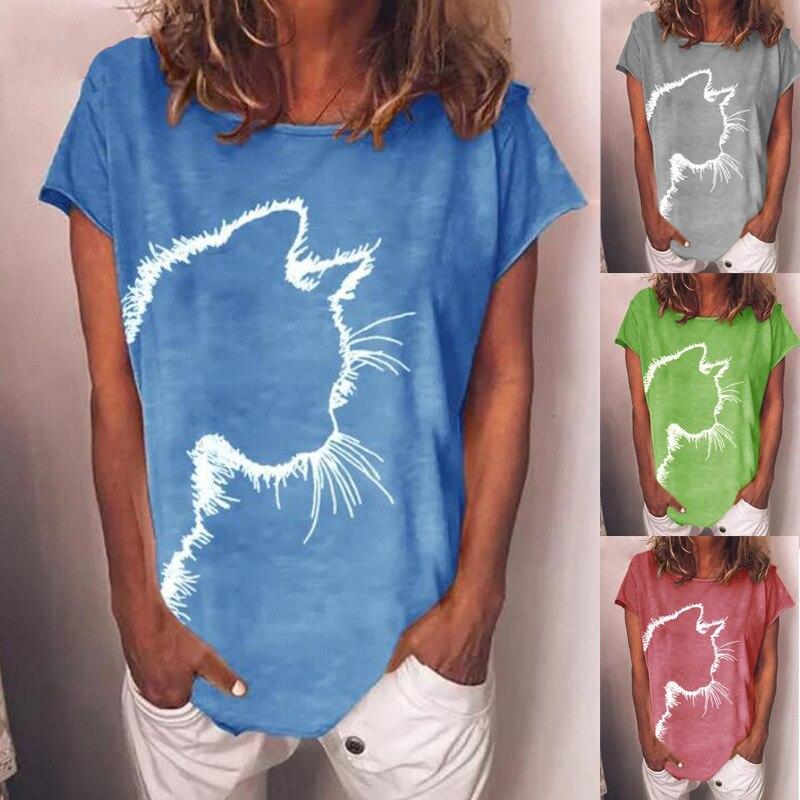 Damska letnia bawełna drukowana z krótkim rękawem wokół szyi T koszula dorywczo luźna Plus rozmiar panie stylowe topy S-5XL