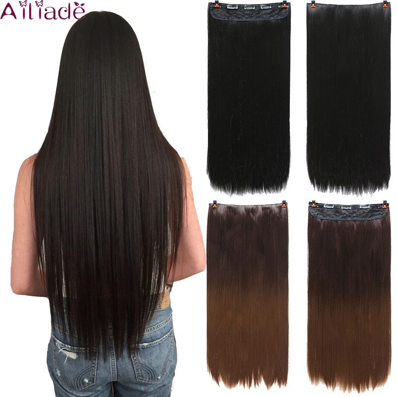 AILIADE 5 Clips High Tempreture Synthetic Natural Hair Straight Clip In Hair Extensions False Hair Black Hair Pieces For Women