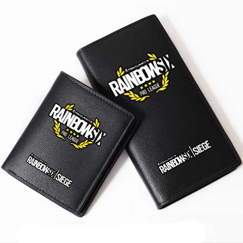 Juego Tom Clancy's Rainbow Six Siege impresión militar hombres billetera larga de cuero Pu monedero corto moda pasaporte tarjetero
