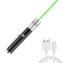 Зеленая лазерная мини-указка с USB-зарядкой, мощный портативный Лазерный фонарь 5 МВт с красной точкой, портативный одноточечный Звездный лаз...