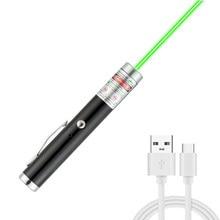 Mini usb ponteiro laser verde usb carregamento de alta potência 5 mw portátil red dot tocha laser portátil único ponto estrelado lazer