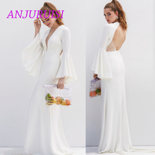 ANJURUISI Elegant Mermaid Wedding Dress 2019 Soft Satin Bridal Gown Simple Bride Dress Sexy Flare Sleeves  Vestido Novia