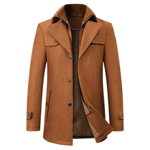 高品質ウールコート男性オーバーコートトップコートメンズシングルブレストコートジャケット新到着冬のマントオム