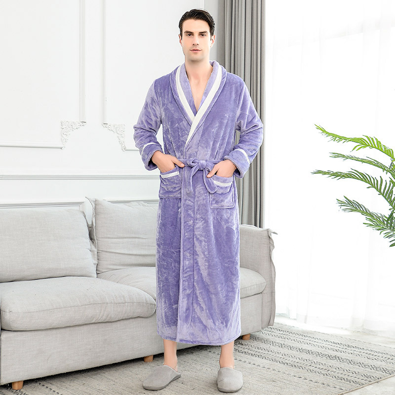 On Sale Thick Warm Winter Bathrobe Men Soft As Silk Extra Long Kimono Bath Robe Male Dressing Gown For Mens Flannel Robes