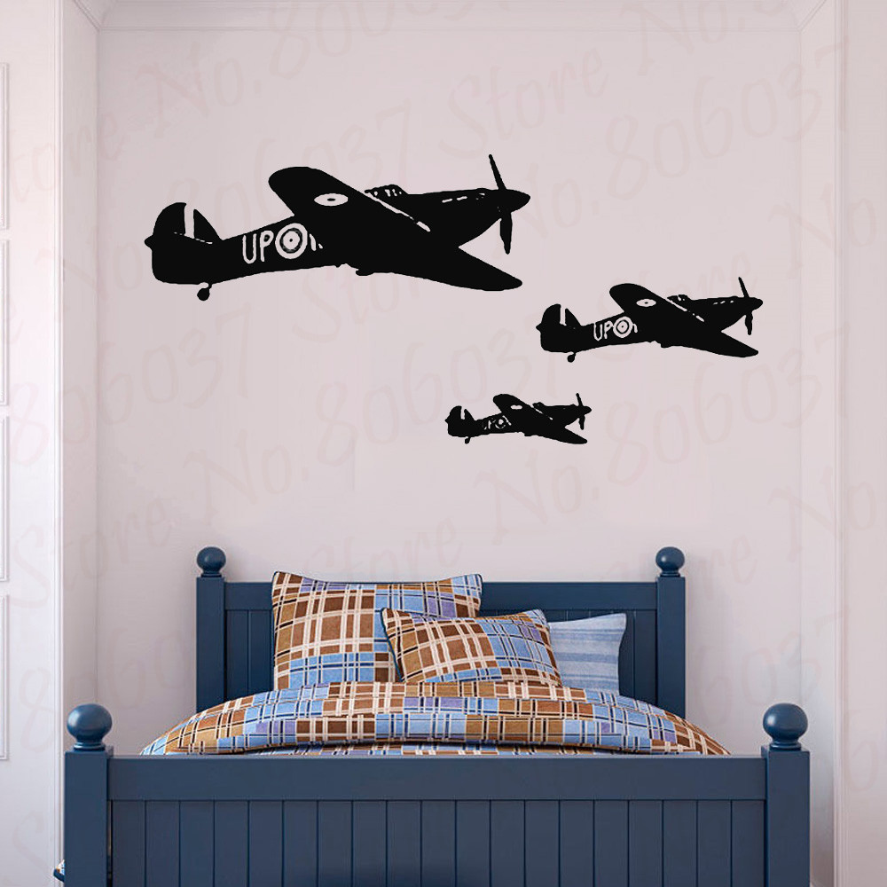 War Plane Military Wall Decal Air Aviation For Boys Bedroom Wall Decoration Airplane Wall Sticker Kids Dedroom Poster WL689 image