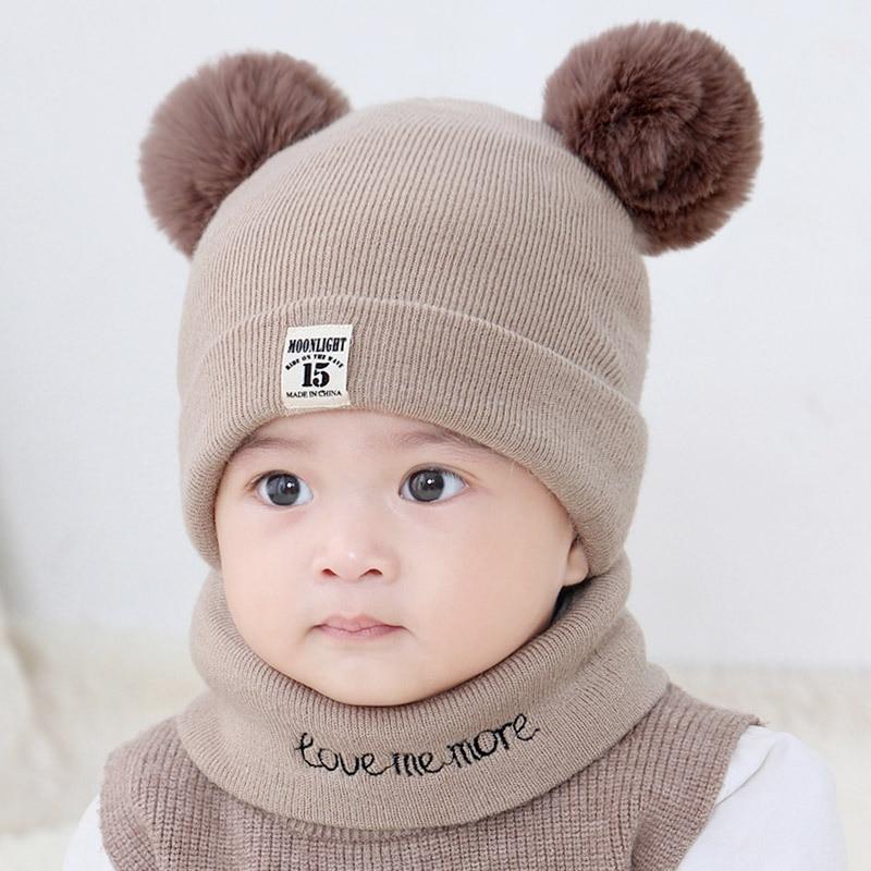 Baby Toddler Kids Boy Girl Winter Warm Knitted Crochet Beanie Hat Cap Scarf Sets