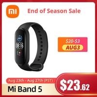 Original Xiaomi Mi Band 5 Globale Version 9 Sprachen Intelligente Miband Bildschirm Armband Herz Rate Fitness Sport Bluetooth Armband