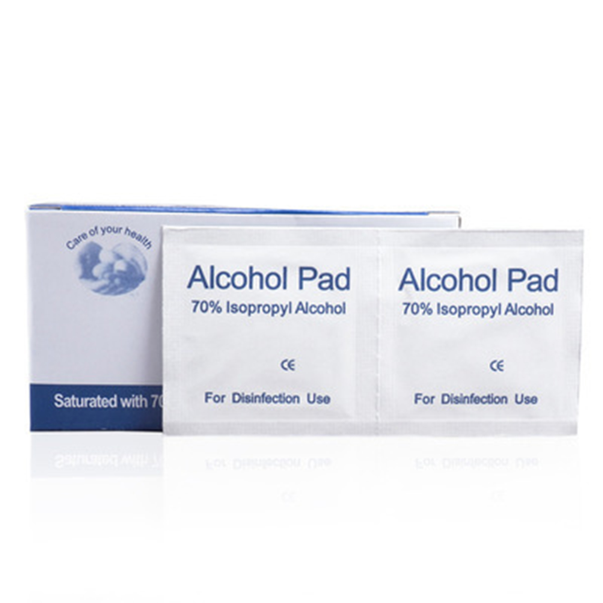 100pcs Disposable Alcohol Pads Alcohol Wipes Cleaning Cloth For Eyeglasses Mobile Phone Door Handle Elevator Buttons Mouse