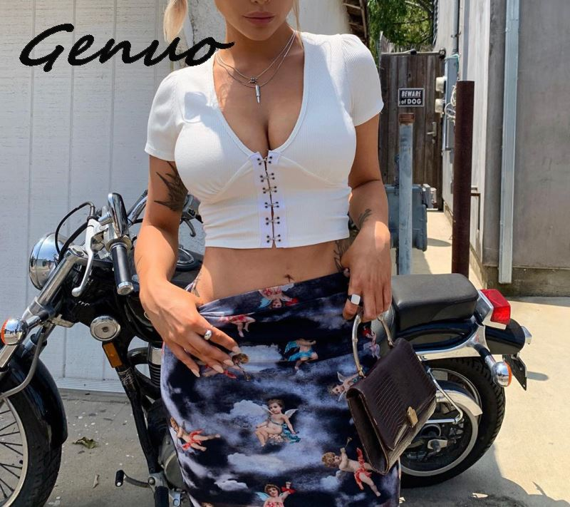 Genuo NEW <font><b>Sexy</b></font> <font><b>V</b></font> <font><b>Neck</b></font> <font><b>Buckle</b></font> Short Sleeve <font><b>Crop</b></font> <font><b>Top</b></font> 2019 Autumn Women Fashion Casual White Blue T Shirt Female Streetwear Tee T image