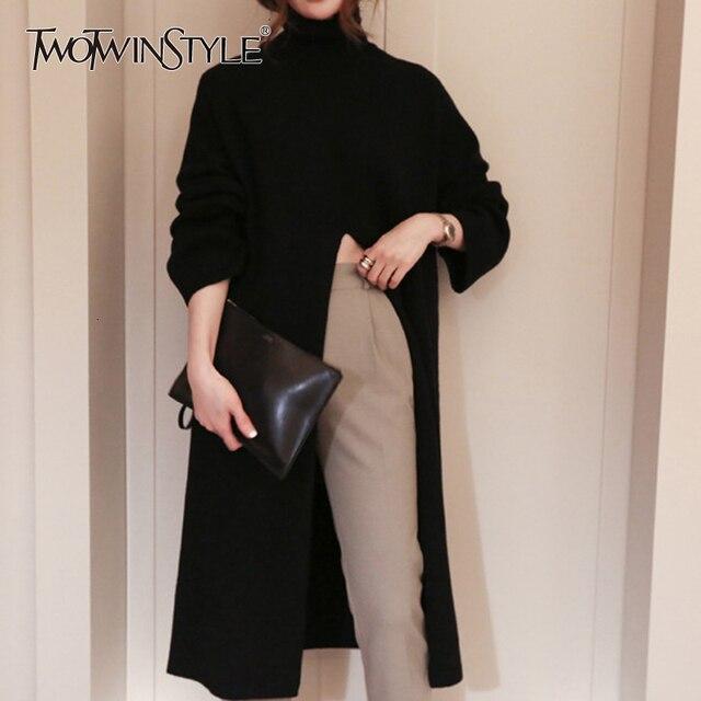 Deuxtwinstyle fendu noir pull femmes à manches longues col roulé hauts tricotés femme vêtements coréen 2020 hiver nouveau