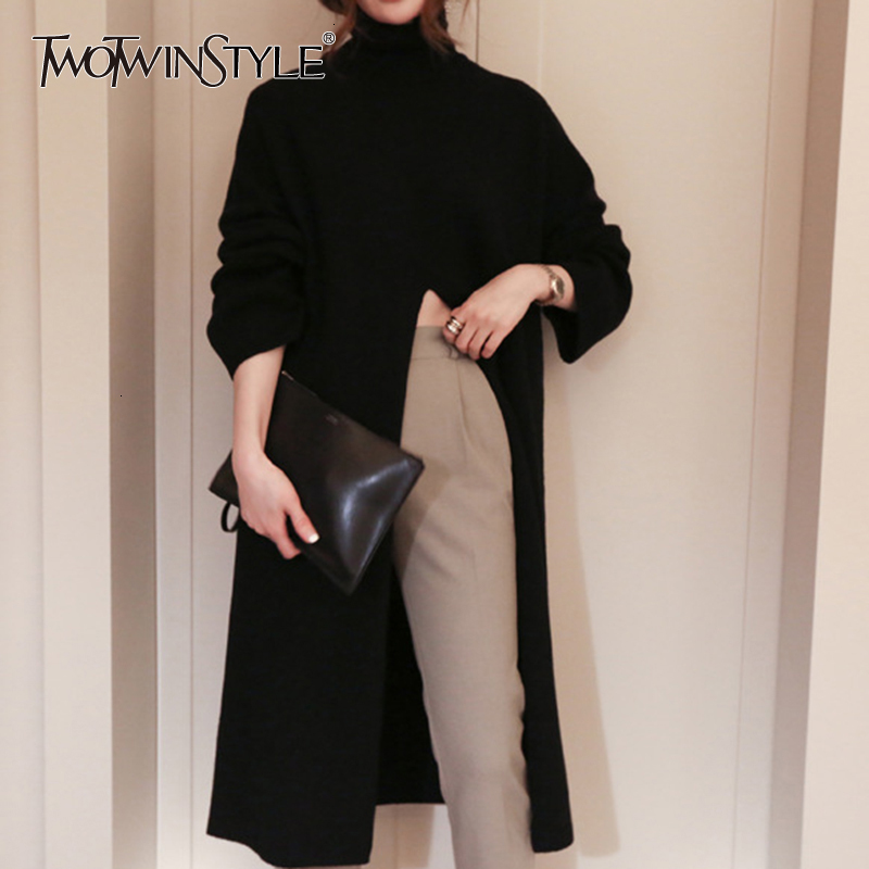 TWOTWINSTYLE Split Black Sweater Women Long Sleeve Turtleneck Knitted Pullover Tops Female Clothes Korean 2020 Winter New