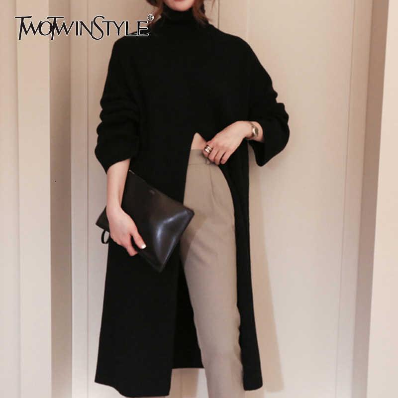 TWOTWINSTYLE Split czarny sweter kobiet z długim rękawem golfem dziergany sweter topy ubrania damskie koreański 2020 zima nowy