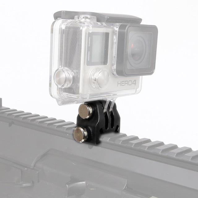 Câmera de ação montagem em trilho de náilon adaptador fixo para picatinny airsoft rifle laser adaptador montagem para gopro eken