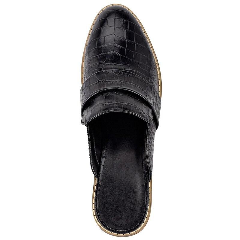 Croc en relief femmes Mules à l'extérieur pantoufles chaussures bas talons épais grande taille 14 16 dames mode mocassins Cascual Mature Shofoo - 5