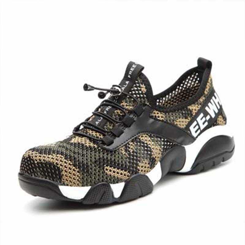 Novos homens de aço toe sapatos de segurança trabalho leve respirável reflexivo casual sneaker evitar piercing botas de proteção femininas