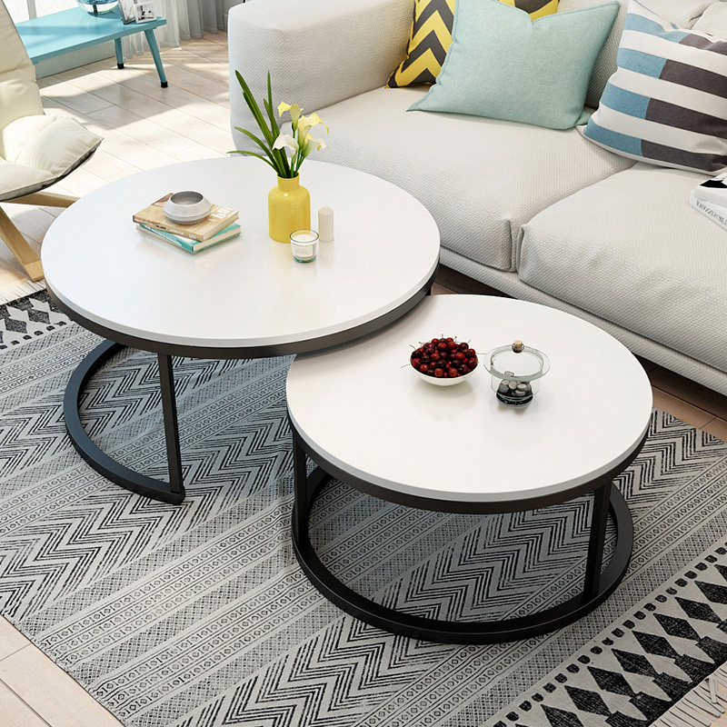 Nordic-style Steel And Wood Tea Table Creative Small Apartment Simple Modern Living Room Sofaside Several Round Simple Tea Table