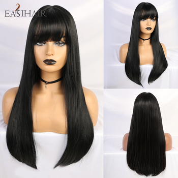 EASIHAIR Long Black Straight Wigs with Bangs Synthetic for Women Cosplay High Temperature Fiber Hair Wig - discount item  45% OFF Synthetic Hair