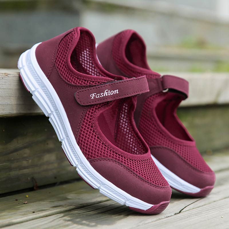 Breathable Mesh Women Sneakers Casuals Shoes Woman 2020 Flat With Hook & Loop Solid Sneakers Women Running Shoe Zapatos De Mujer