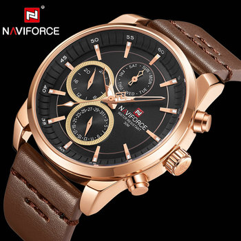 NAVIFORCE 9148 Military Watches Men Chronograph Wristwatch Genuine Leather Strap Waterproof Clock with box
