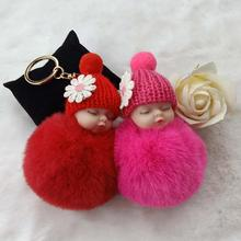 Sleeping Baby Doll Ball Key Chain Car Keyring Holder Bag Pendant Charm Keychain Plush Fur New Cute Women Key Chains Pompom Dolls недорого