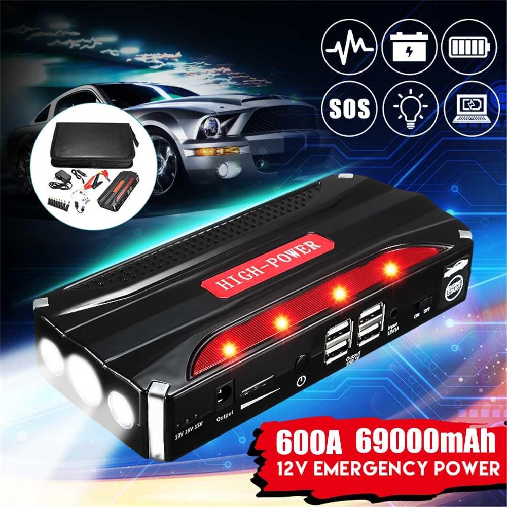 Démarreur multifonction de saut de voiture 69000mAh 12V 4USB Powerbank Booster de batterie Portable pour moteur Diesel 4.0L essence 2.5L