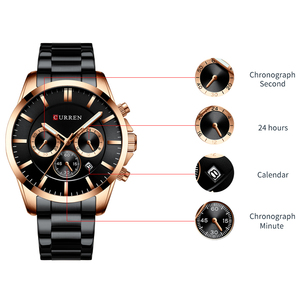 Image 4 - New Watches Men Top Brand CURREN  Luxury Quartz Watch Mens Casual Military Wristwatch Stainless Steel Clock with Chronograph