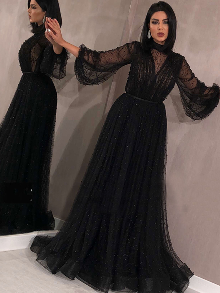 Evening-Dresses Peach-Pearls Serene Hill Long-Sleeves Black Plus-Size Sexy LA60835 A-Line