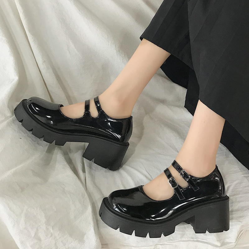 Rimocy 2020 New Black High Heels Shoes Women Pumps Fashion Patent Leather Platform Shoes Woman Round Toe Mary Jane Shoes Mujer
