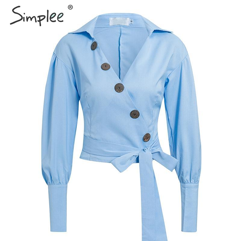 Simplee Office ladies buttons v neck blouse shirts Elegant puff sleeve sash belt female blouse tops Zipper slim autumn blouses-in Blouses & Shirts from Women's Clothing on AliExpress - 11.11_Double 11_Singles' Day 1