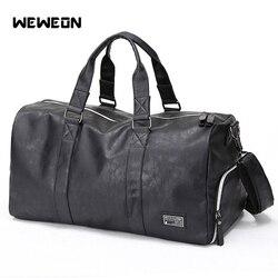 Кожаная мужская Спортивная тренировочная сумка, спортивная сумка из ПУ кожи для фитнеса с обувью, Мужская Военная прочная сумка для путешес...