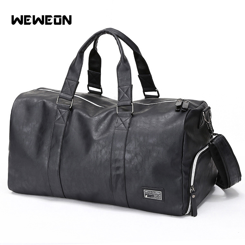 Leather Men's Gym Training Bag PU Sport Bag For Fitness With Shoes Compartment Military Muscle Durable Travel/Luggage