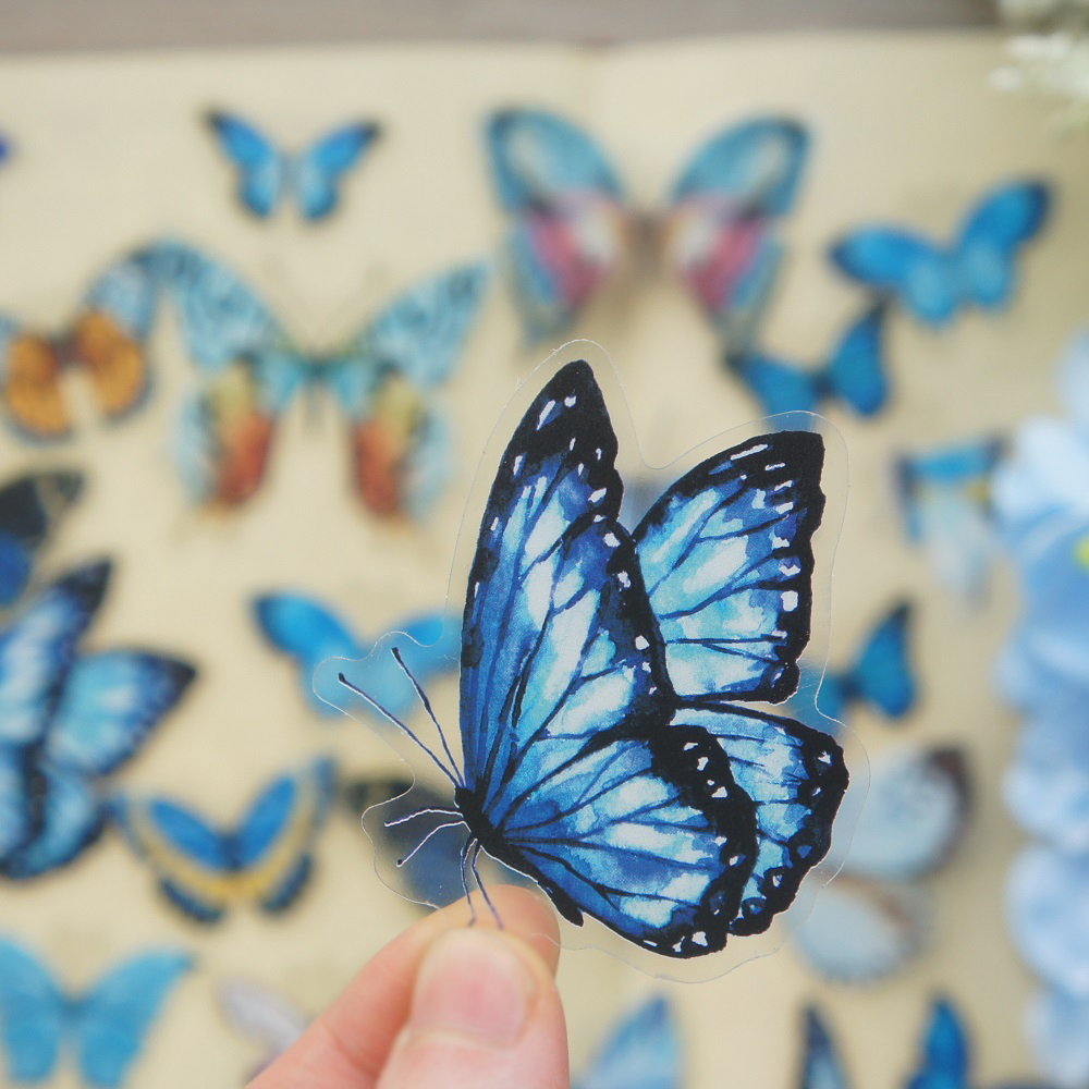 38pcs MIX Size Blue Yellow Tropic Butterfly Style PVC Sticker Scrapbooking DIY Gift Packing Label Decoration Tag