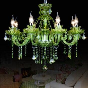 現代の led シャンデリアダイニングルームベッドルームキッチン照明器具光沢デクリスタルテトグリーン色ガラスシャンデリア -