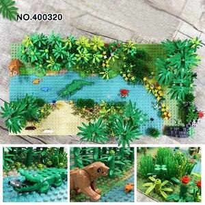 Image 4 - Kompatybilny wszystkie marki Rainforest Animal Grass Tree zestaw klocków z podstawą City MOC akcesoria części DIY cegły