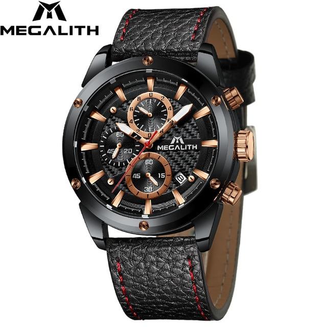 MEGALITH אופנה צבאי שעון ספורט גברים שעונים עמיד למים הכרונוגרף שעון גברים עור רצועת קוורץ יד שעונים זכר 8004