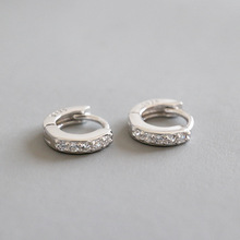 цена S925 pure silver contracted personality mini micro inlay zircon earrings ear clip students female silver ornament