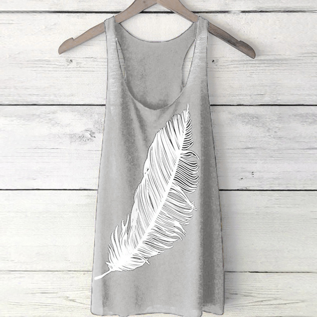 Women Tshirt Feather Printed Sleeveless Tank Top Vest Summer Soft Tops Tanks Camiseta Mujer Top Women Harajuku Shirt Haut femme