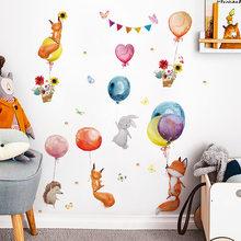 Peint à la main aquarelle Stickers muraux ballon animaux Stickers muraux pour enfants chambre maternelle décoration murale peintures murales décoration de la maison