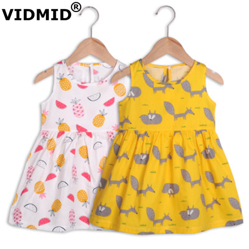 VIDMID baby girls summer short sleeve dresses cotton clothes folwers dresses kids girls casual dresses children clothing 7119 01 1