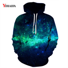 Mens Womens 3D Hoodies Blue Space Galaxy Starry Sweatshirt Graphic Casual Streetwear Pullover Tracksuit Couples Tops
