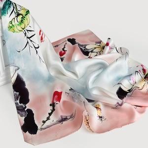 Image 5 - Bufanda de 100% Real para mujer, bufanda de seda con estampado Floral hiyab de satén, pañuelos cuadrados de lujo de marca, pañuelo para el cuello, bufandas para mujer