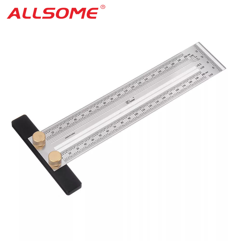 High Precision Scale Ruler T-type Hole Ruler Stainless Woodworking Scribe Drawing Mark Line Gauge Carpenter DIY Measuring Tool