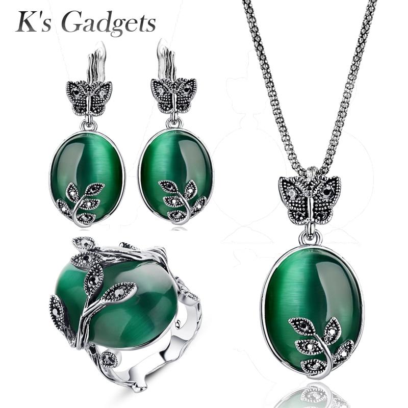 K'sGadgets Marca Verde Do Vintage Conjunto de Jóias de Opala Preto Cristal Rhinestone Folha Big Oval Pedra Natural Colar Sets Anel Brinco