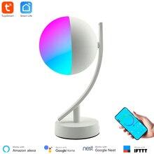 Tuya Smart APP WiFi lampa biurkowa 16 milionów kolorów bezprzewodowy zegar sterujący Alexa kompatybilny lampka nocna RGB możliwość przyciemniania dla inteligentnego domu