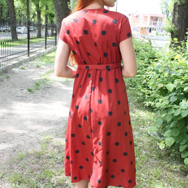 Vintage Casual Polka Dot Print A-Line V-neck Short Sleeve Long Dress