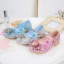 Disney Summer Girls Frozen Sandals with Heel Fashion Crystal Shiny Glitter Shoes Children Girls Princess Bowtie Dancing Shoes