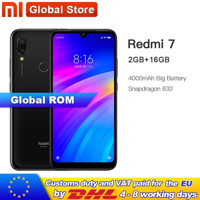 Xiaomi Redmi 7 2GB 16GB Redmi7 Smartphone Snapdragon 632 Octa Core 4000mAh 12+2MP Dual Camera Phone 6.26'' 19:9 Full screen