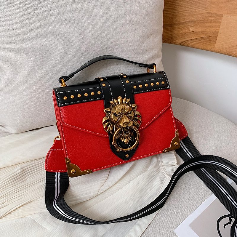 H9ee6a7375d0543429f54e03048cb2b137 - Female Fashion Handbags Popular Girls Crossbody Bags Totes Woman Metal Lion Head  Shoulder Purse Mini Square Messenger Bag