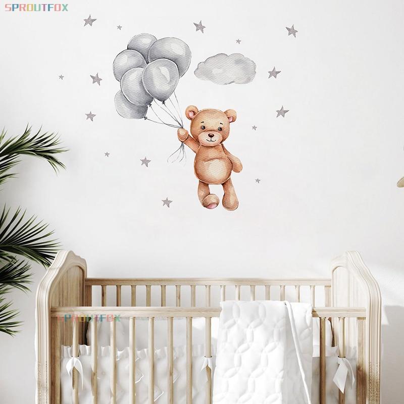 Мультяшные животные, наклейки на стену для детской комнаты, для мальчиков и девочек, звезды, медведь, украшения, наклейки на стену детям комн...