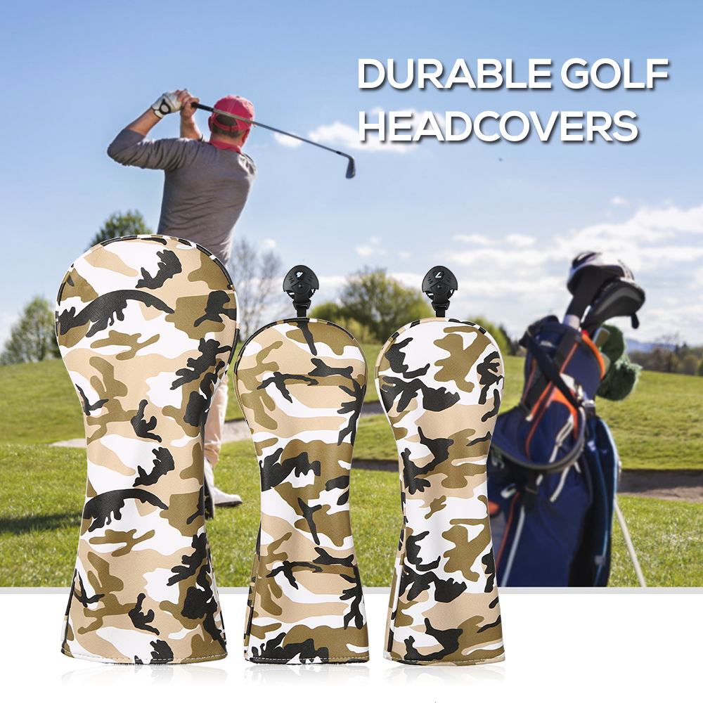 3 Pcs Golf  Sports Head Covers Set Outdoor Wood Headcover Driver Fairway For Men Women Numbers Golf Accessories Dog Pattern